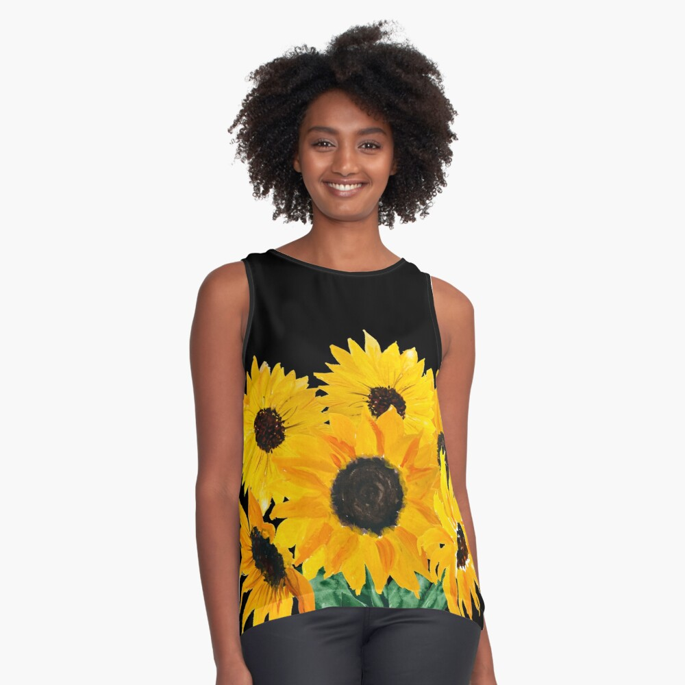 Painted sunflower bouquet Sleeveless Top