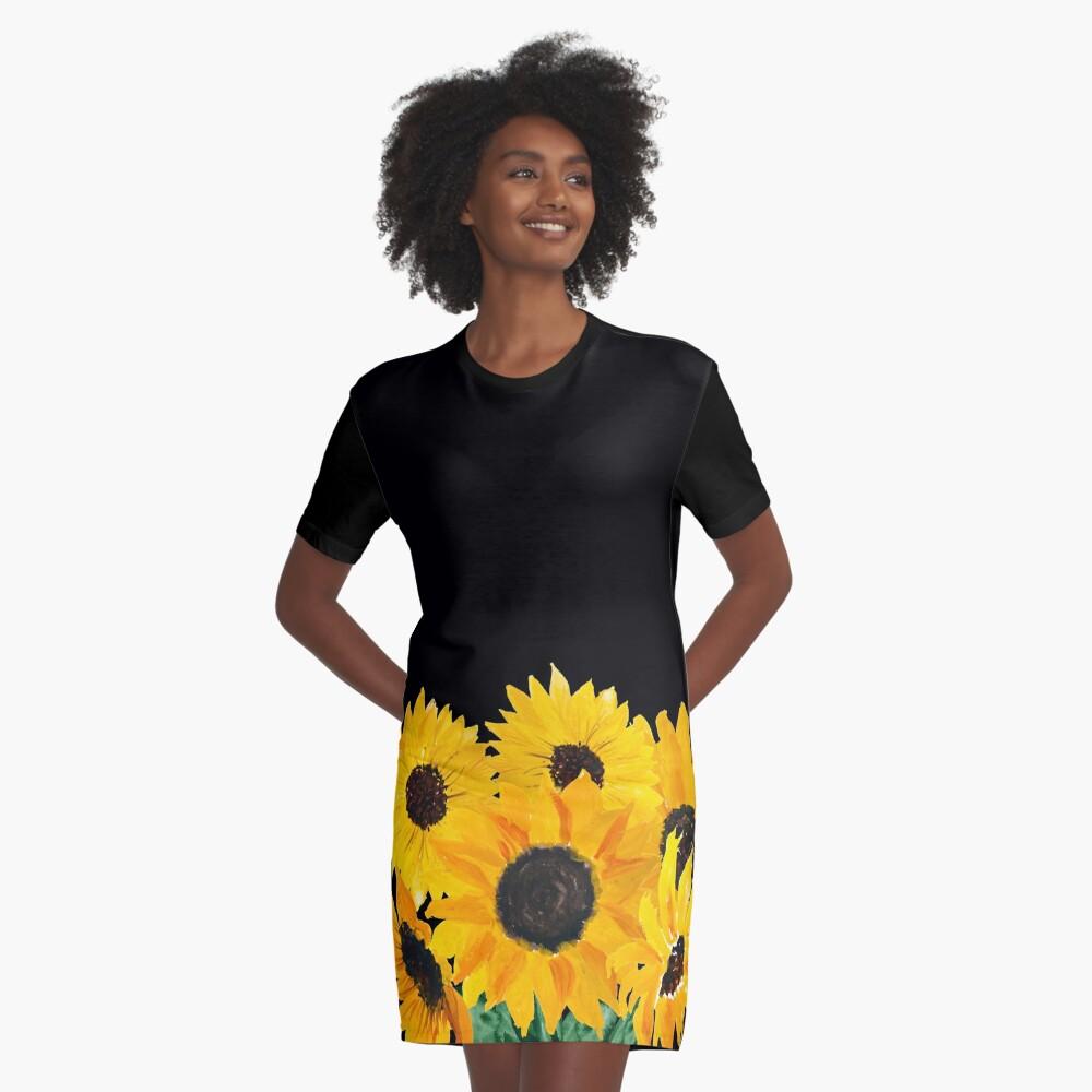 Painted sunflower bouquet Graphic T-Shirt Dress