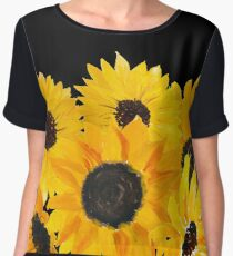 Painted sunflower bouquet Women's Chiffon Top