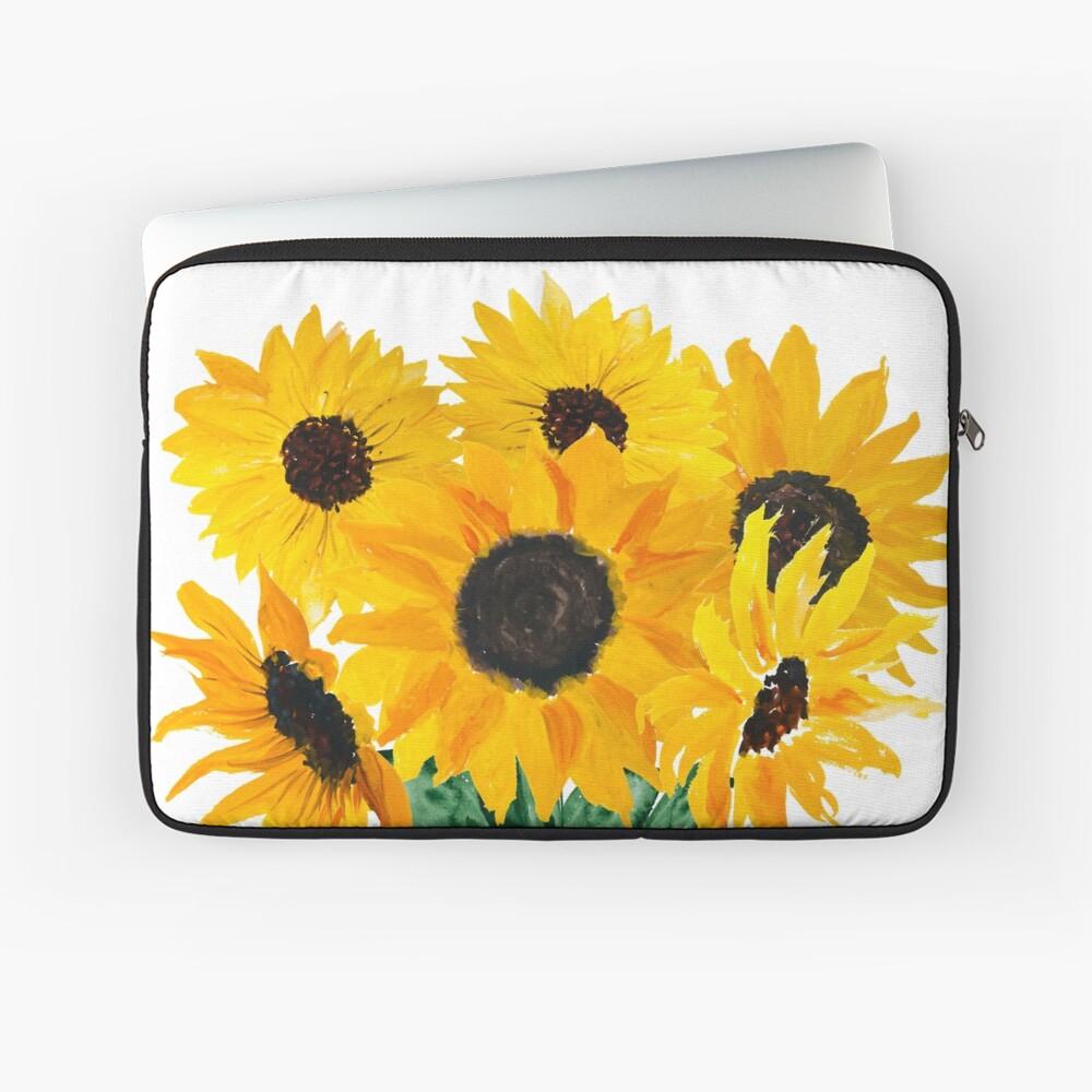 Gemalter Sonnenblumenstrauß Laptoptasche
