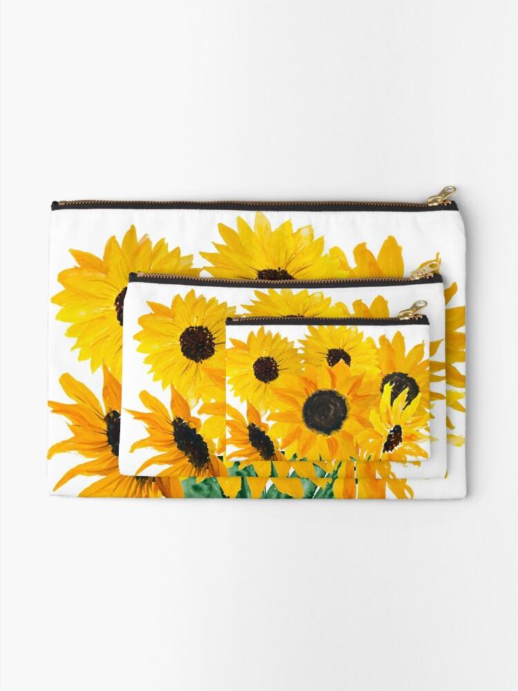 Alternate view of Painted sunflower bouquet Zipper Pouch