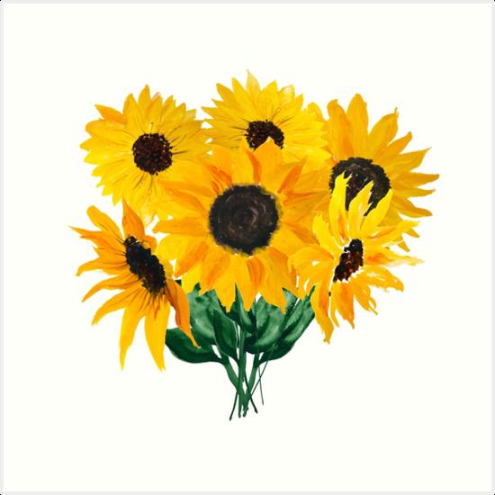 Painted sunflower bouquet by Ilze Lucero