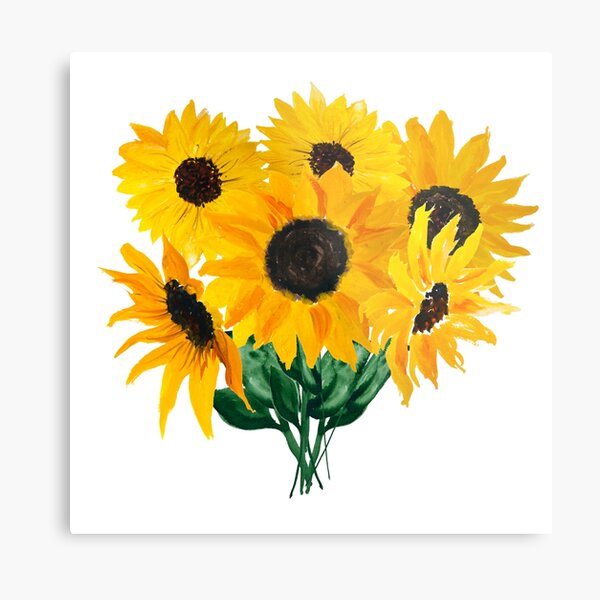Painted sunflower bouquet Metal Print