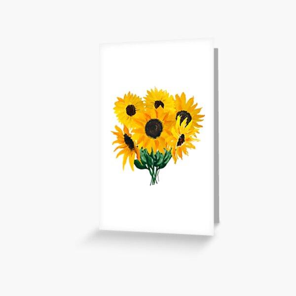Gemalter Sonnenblumenstrauß Grußkarte