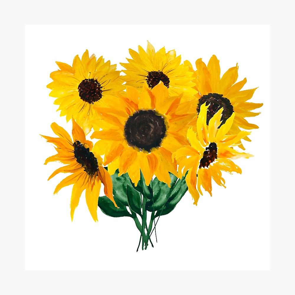 Painted sunflower bouquet Photographic Print