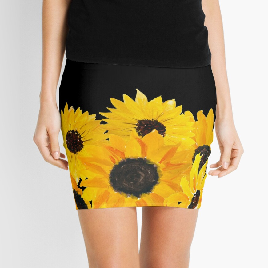 Painted sunflower bouquet Mini Skirt