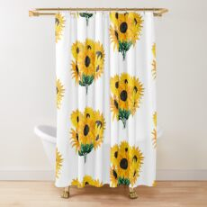 Gemalter Sonnenblumenstrauß Duschvorhang