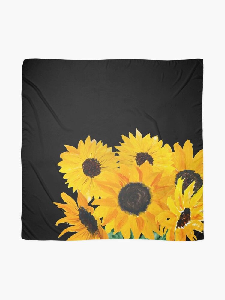 Alternate view of Painted sunflower bouquet Scarf