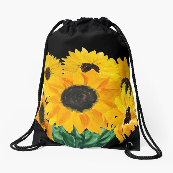 Painted sunflower bouquet Drawstring Bag