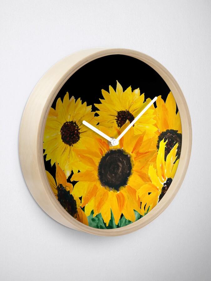 Alternative Ansicht von Gemalter Sonnenblumenstrauß Uhr