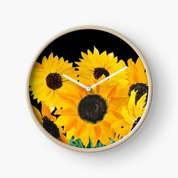 Painted sunflower bouquet Clock