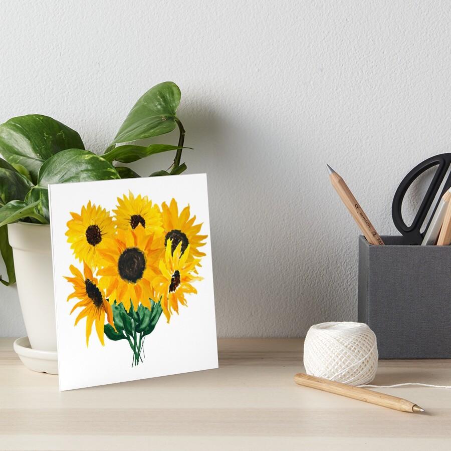 Painted sunflower bouquet Art Board Print