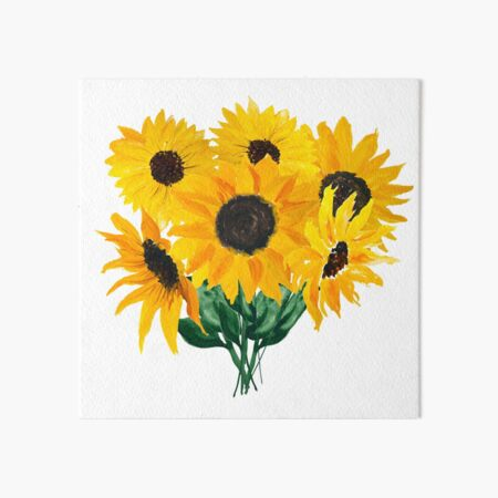 Painted sunflower bouquet Art Board Print