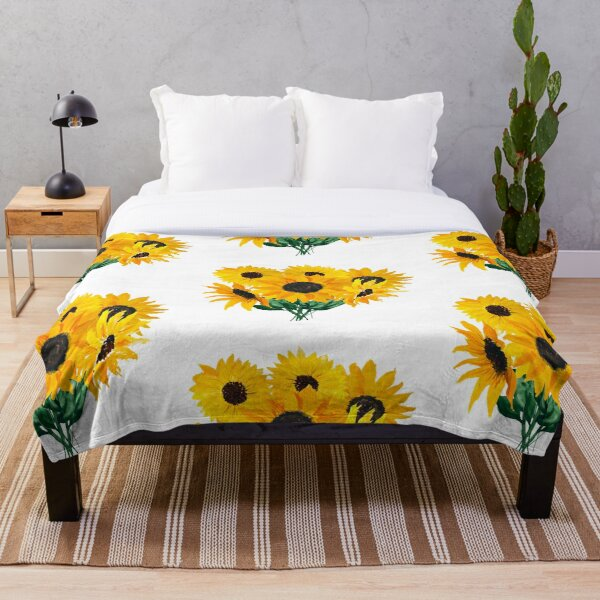 Painted sunflower bouquet Throw Blanket
