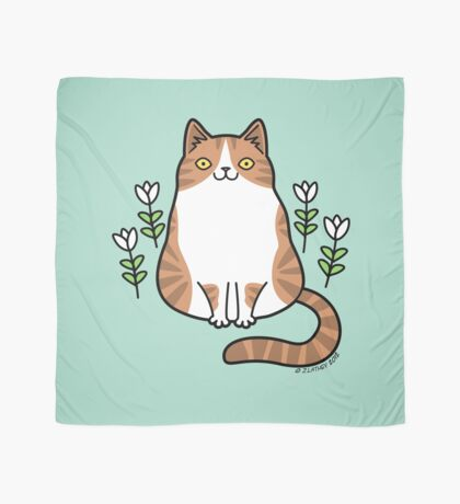 Brown and White Cat with Flowers Scarf