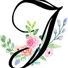Girly Watercolor Floral Initial - J by Grafixmom