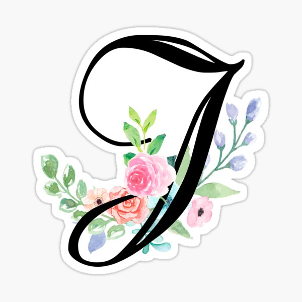 Girly Watercolor Floral Initial - J Sticker