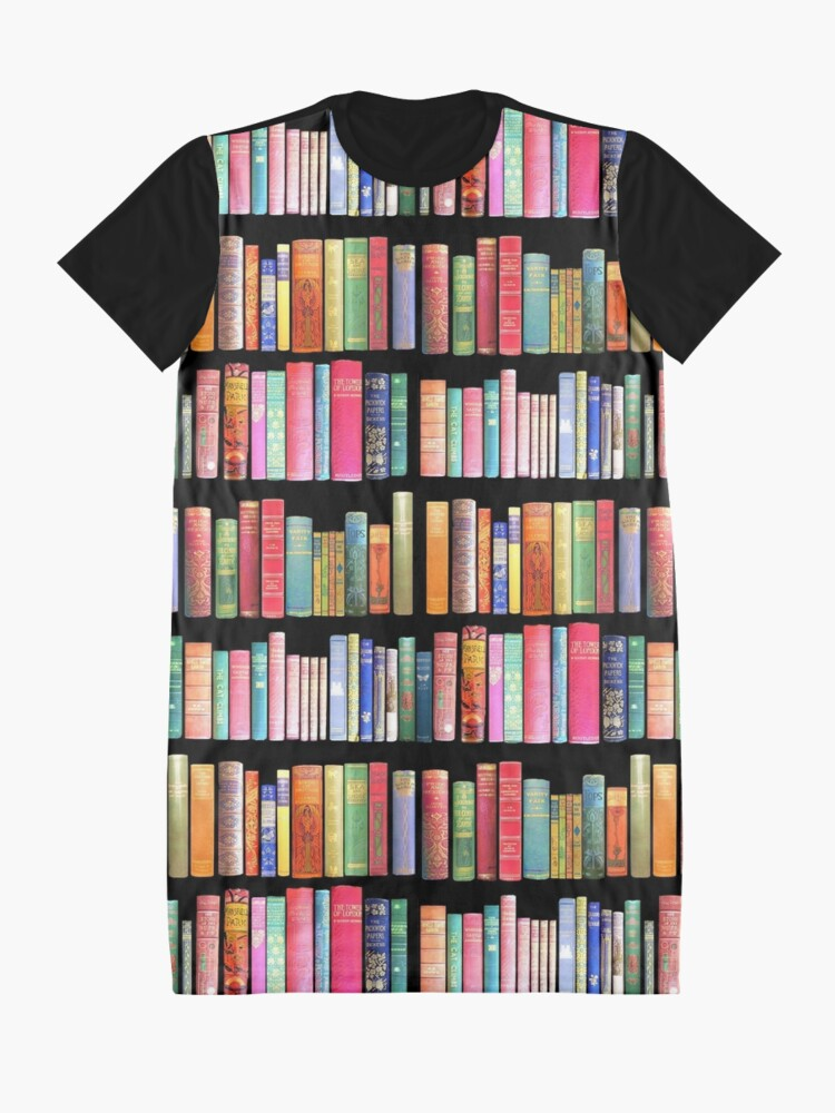 Alternate view of Bookworms Delight / Antique Book Library for Bibliophile Graphic T-Shirt Dress