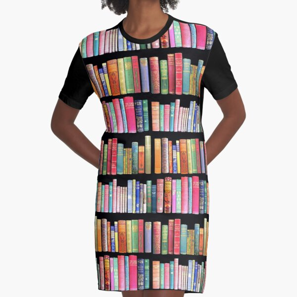 Bookworms Delight / Antique Book Library for Bibliophile Graphic T-Shirt Dress