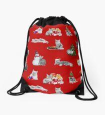 Festive Felines (Christmas Cats) Drawstring Bag