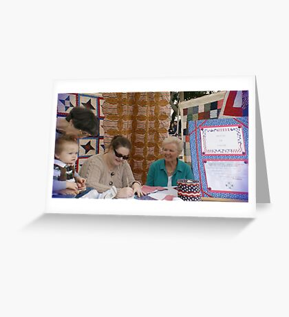 (Local Quilter's Guild) What a beautiful lesson a young mother is teaching her son on Valor! Greeting Card