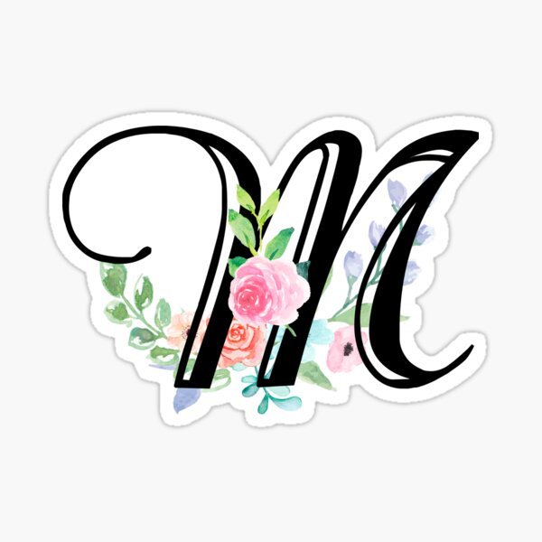 Girly Watercolor Floral Initial - M. Sticker