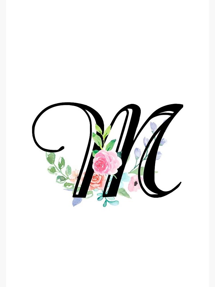 Girly Watercolor Floral Initial - M. by Grafixmom