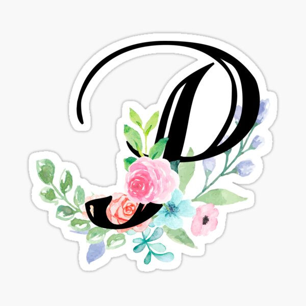 Girly Watercolor Floral Initial - P Sticker
