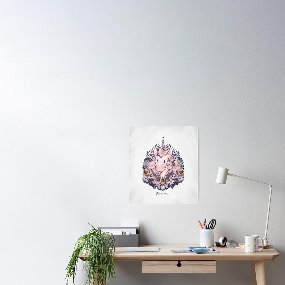 A Majestic Apricot Unicorn Poster