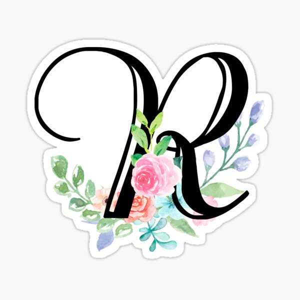Girly Watercolor Floral Initial - R Sticker