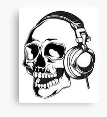 Skull headpones Gamer DJ Halloween Canvas Print