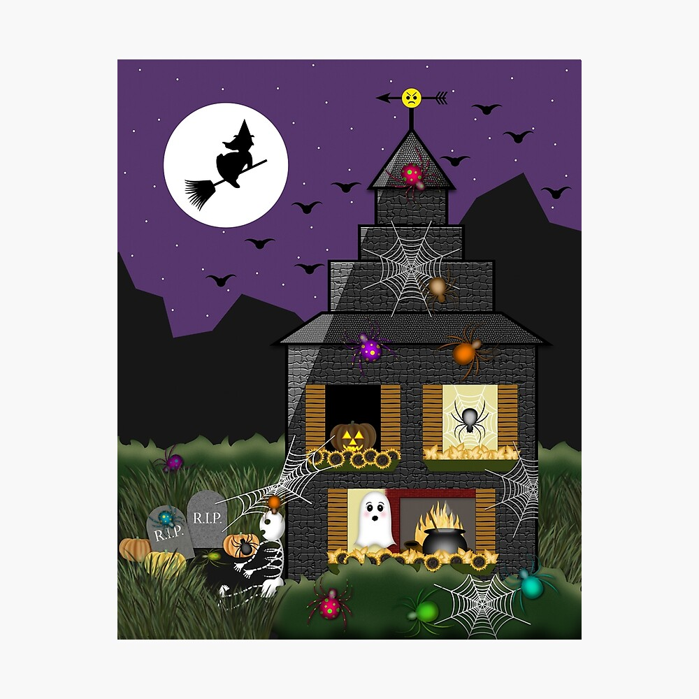 """""""Spooky Halloween Haunted House Cartoon With Witch"""