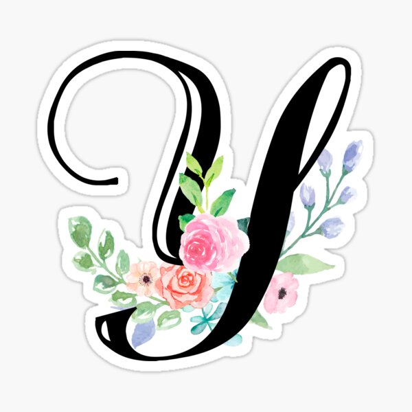 Girly Watercolor Floral Initial - Y Sticker
