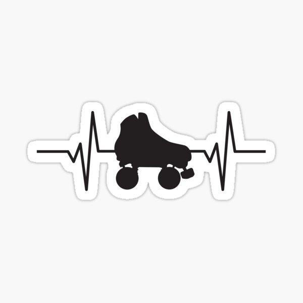 Heartbeat / Pulse - Retro Roller Skate  Sticker