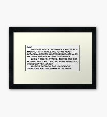 Anonymous Letter to Sammi Framed Print