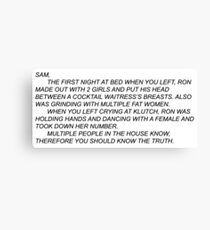 Anonymous Letter to Sammi Canvas Print