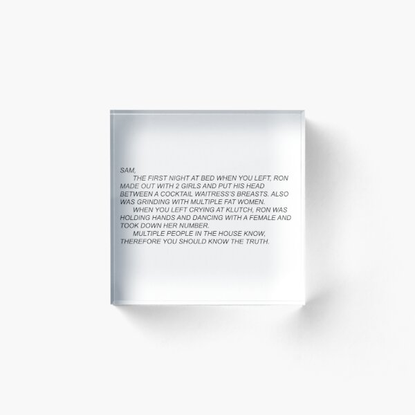 Anonymous Letter to Sammi Acrylic Block