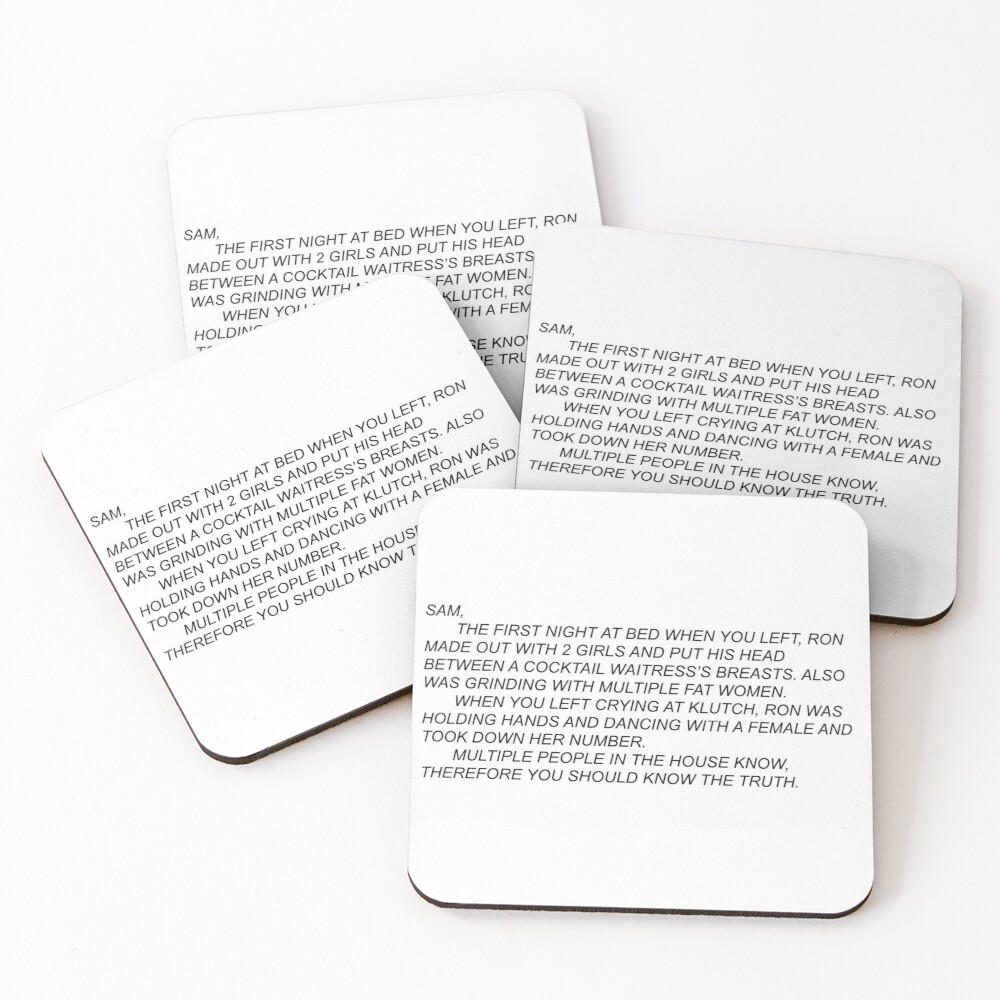 Anonymous Letter to Sammi Coasters (Set of 4)