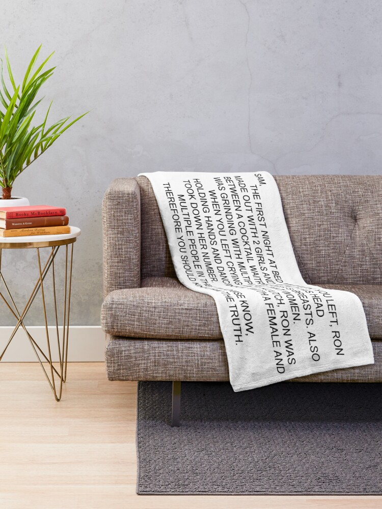 Alternate view of Anonymous Letter to Sammi Throw Blanket