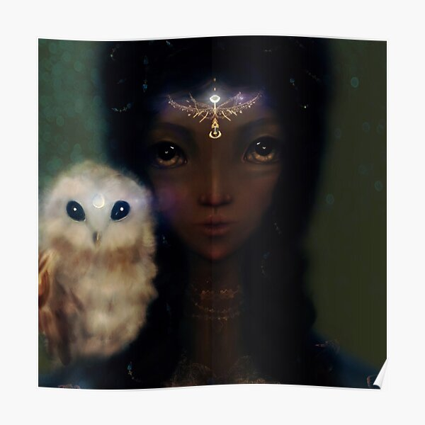 Black Fairy Witch Owl Illustration Poster