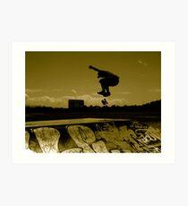 Sepia Shadow Skater Art Print