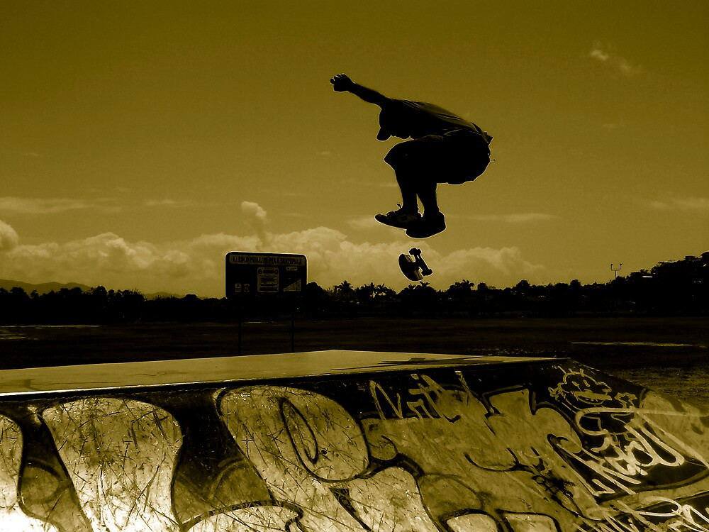 Sepia Shadow Skater by footyman