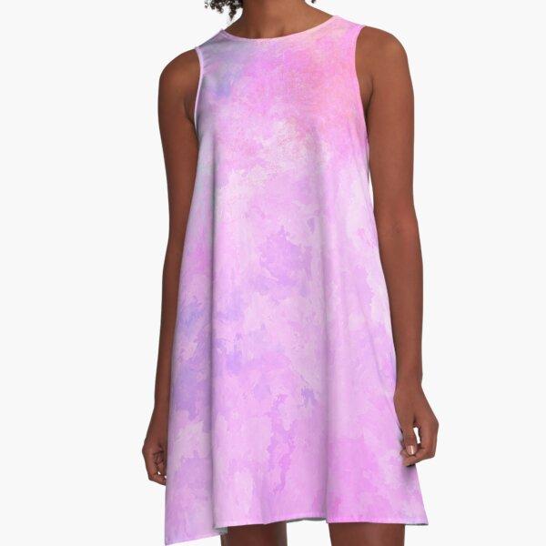 Abstract Art Modern Pink Feminine Summer Watercolor Painting A-Line Dress