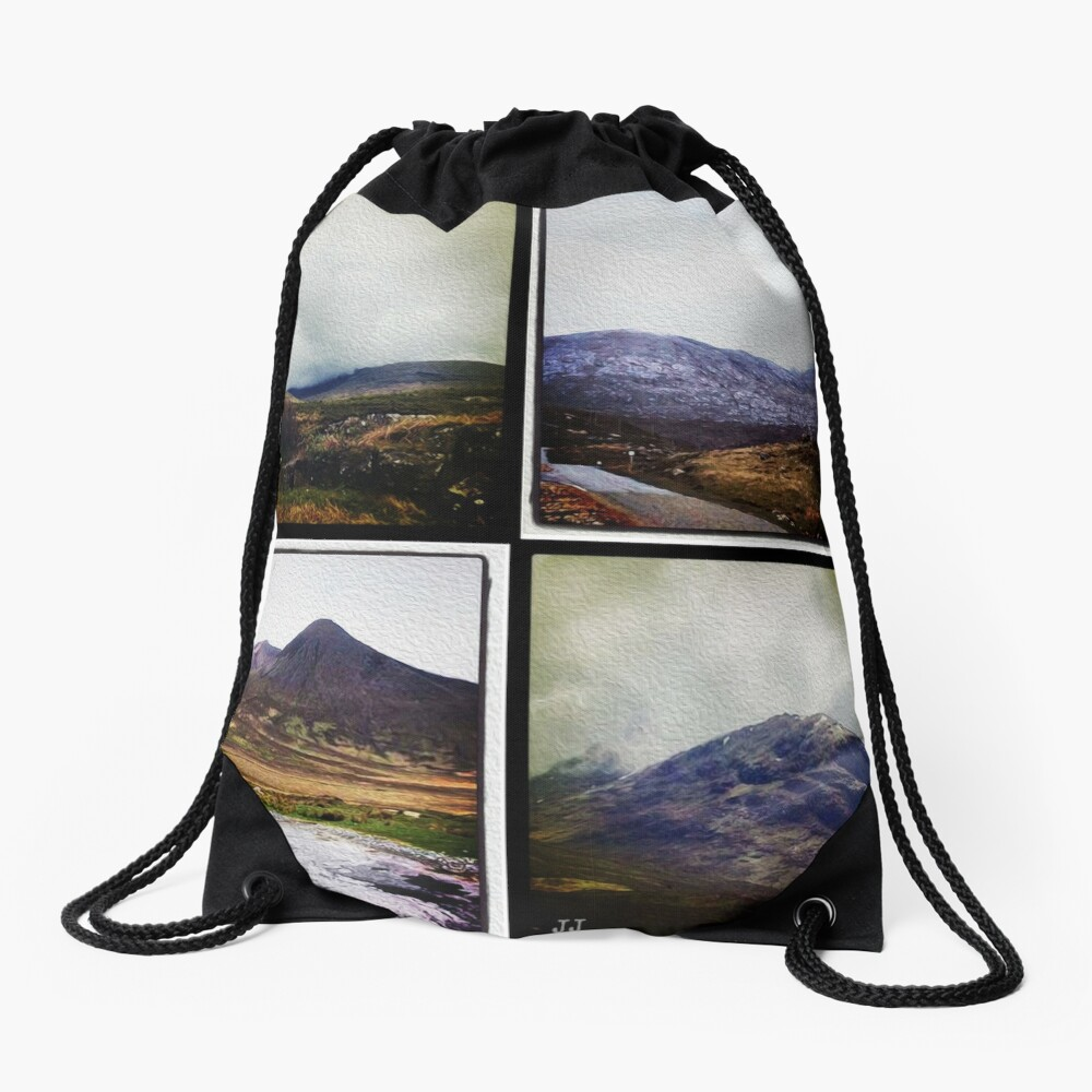 Four scenes from the Highlands Drawstring Bag