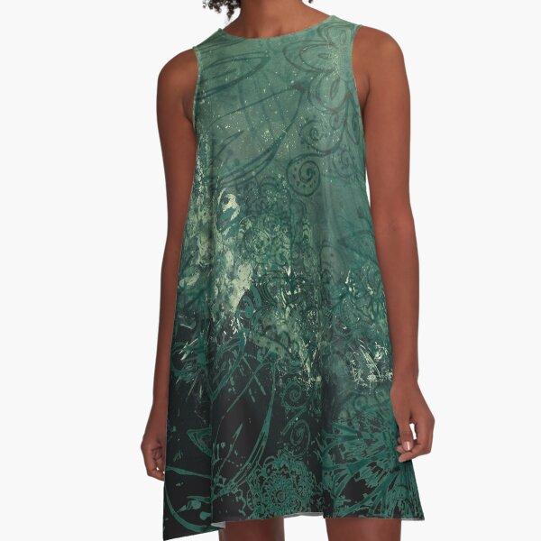 A swirl of vintage green A-Line Dress