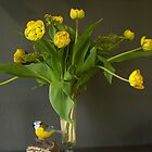 Yellow Tulips in a vase by Gilberte