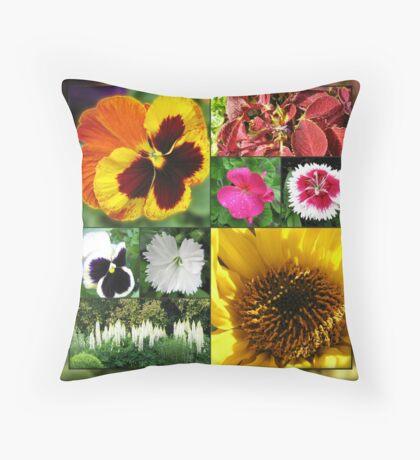 Spätsommer-Blumen-Collage Dekokissen