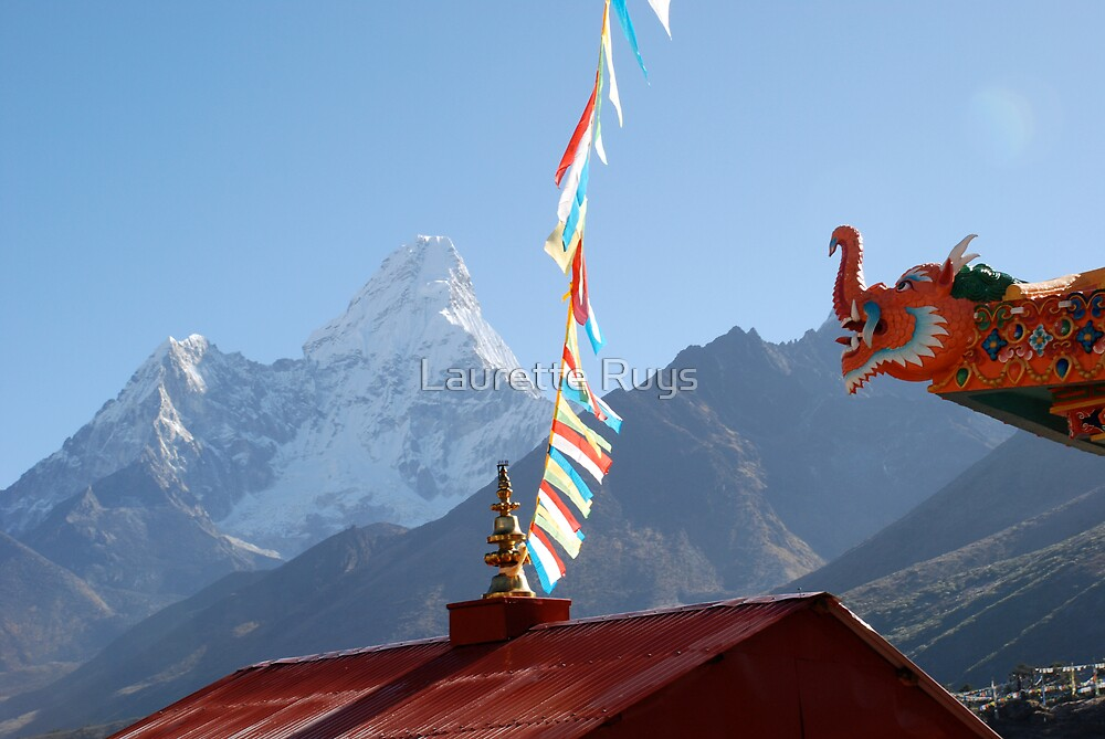 Thyanboche Monastery Ama Dablam by laurette