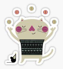 Cute Cat Juggling Sticker