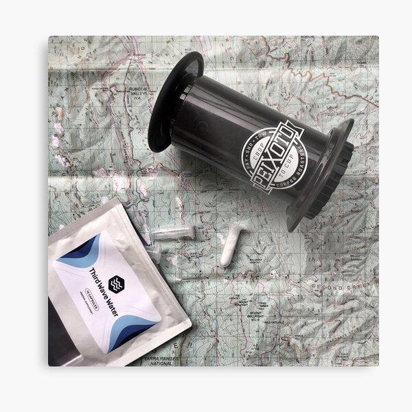 Coffee and Maps Series: Third Wave Water & Aeropress Metal Print